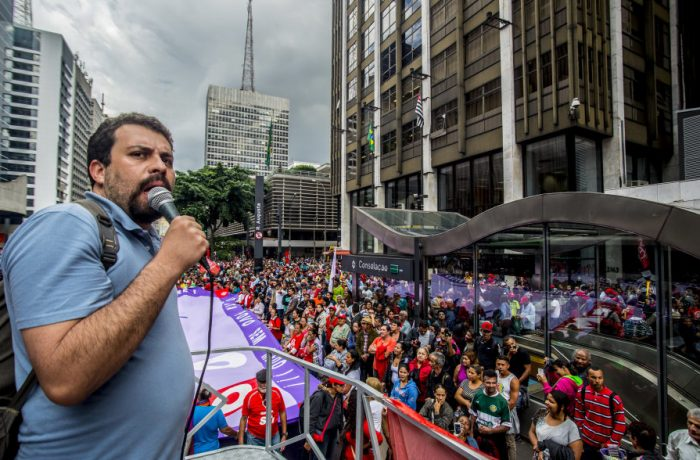Guilherme Boulos (leader of the movement) during a protest against the government of interim president Michel Temer in Sao Paulo, Brazil on June 01, 2016. (Photo by Cris Faga/NurPhoto via Getty Images)